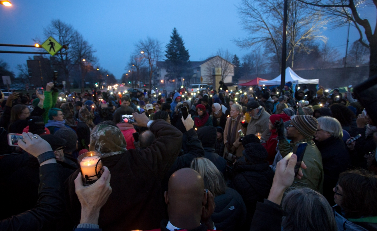 A candlelight vigil for Jamar Clark at the 4th police precinct in North Minneapolis, November 20, 2015