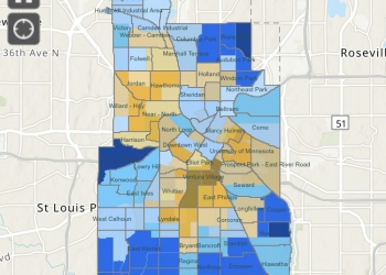 2020 Census response rate map for Minneapolis