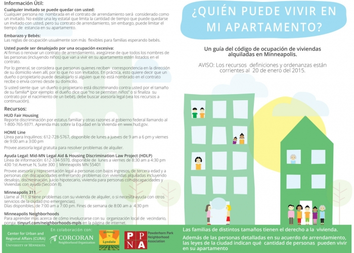 """Who Can Live in My Apartment?"" Flyer, Spanish language 1"